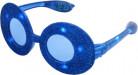 Occhiali ovali paillettes blu led luminosi