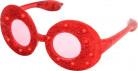 Occhiali ovali a paillettes rosse con led luminosi