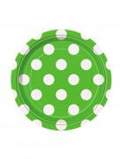 8 piattini verdi con pois bianchi di cartone 17 cm