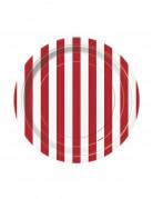 Lotto di 8 piattini di cartone a strisce rosse e bianche
