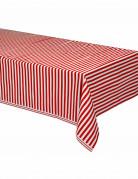 Tovaglia in plastica a righe rossa e bianca 137x274 cm