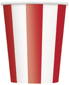 6 bicchieri in carta a strisce bianche e rosse