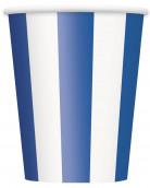 6 bicchieri a righe blue e bianche