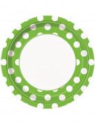 8 Piatti verdi a pois bianchi di carta 23 cm