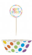 24 Pirottini per cupcake e stuzzicadenti con bandierina colorata Compleanno