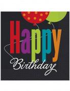 16 Tovaglioli di carta sfondo Nero Happy Birthday 33 x 33 cm