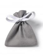 6 sacchetti di cotone color grigio topo