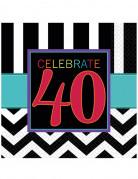 16 tovaglioli di carta per festeggiare i 40 anni di 33 x 33 cm