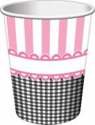 8 bicchieri in cartone rosa da 250 ml