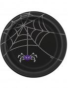 8 piatti di carta con ragnatela per Halloween