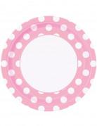 8 piatti di carta rosa a pois bianchi misura 22 cm di diametro