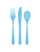 Lotto di 18 posate di plastica colore azzurro
