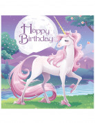 16 tovaglioli con licorno ed Happy Birthday