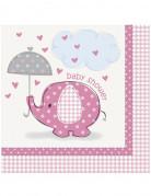 16 tovagliolini di carta Elefante rosa 33 x 33 cm