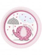 8 Piatti carta Elefante rosa 23 centimetri