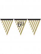 Ghirlanda di bandierine nero e oro da 3,7 metri per 60 anni
