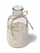 Vasetto in vetro e merletti in pizzo misura 10cm