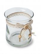 Vaso in vetro con nastro di pizzo e lacci 9 cm