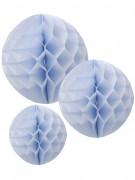 3 palle decorative in carta alveolare azzurre 15, 20 e 25 cm