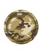 8 Piccoli piatti in cartone militari 17 cm