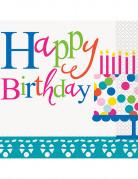 16 tovaglioli di carta Happy Birthday turchese