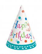 8 cappellini a cono per feste Happy Birthday