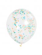 6 palloni trasparenti con coriandoli colorati