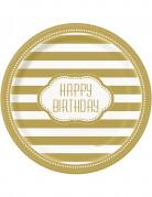 Confezione da 8 piatti dorati Happy Birthday