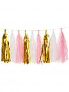 Ghirlanda da 18 ponpon oro, rosa e bianchi