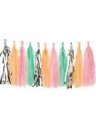 Ghirlanda con 24 ponpon di colore argento, pesca, rosa e menta
