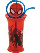 Bicchiere in plastica Spiderman™ con cannuccia