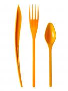 30 Posate in plastica arancioni