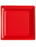 12 piattini quadrati in plastica rossi