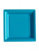 12 piattini quadrati di plastica turchesi 18 cm