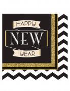 16 tovaglioli di carta Happy New Year neri e oro