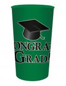 Bicchiere di plastica verde Congrats Grad
