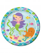 8 piatti di cartone sirena 23 cm