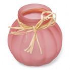 Vaso di vetro rosa con rafia