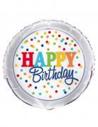 Palloncino alluminio Happy Birthday pois multicolor
