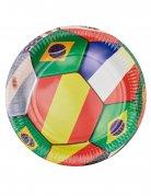 6 piatti in cartone mondiali di calcio 23 cm