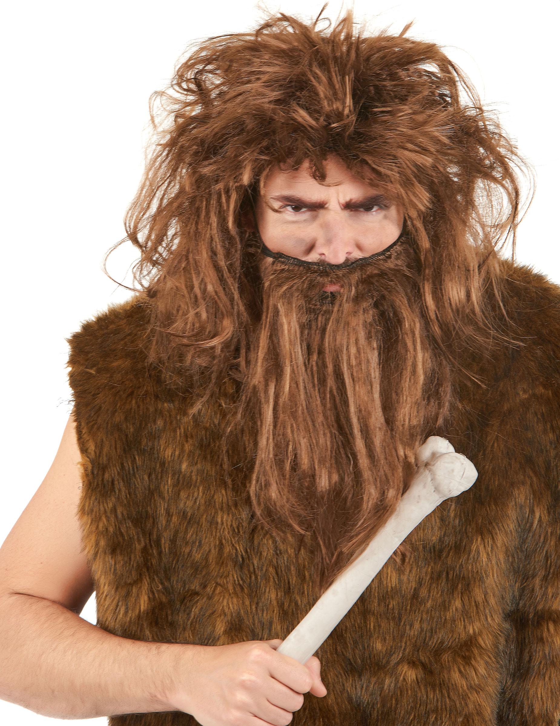 Parrucca e barba uomo delle caverne marrone per adulto su