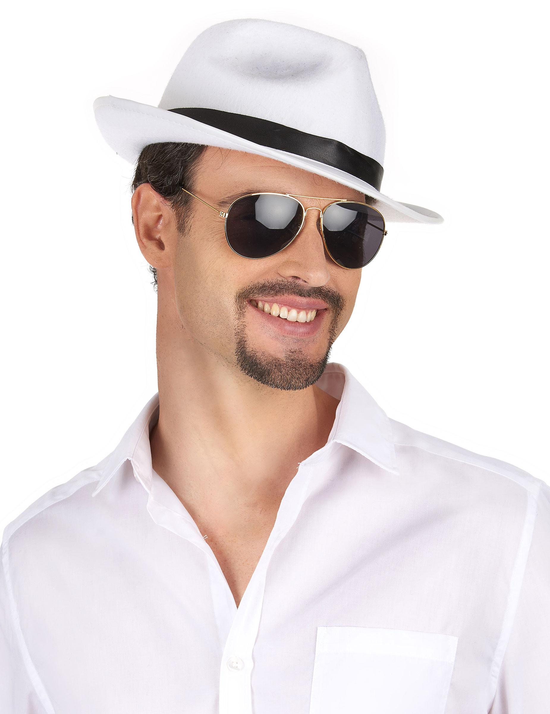 Cappello da gangster bianco e nero per adulti su VegaooParty ... 9300fa8620dd