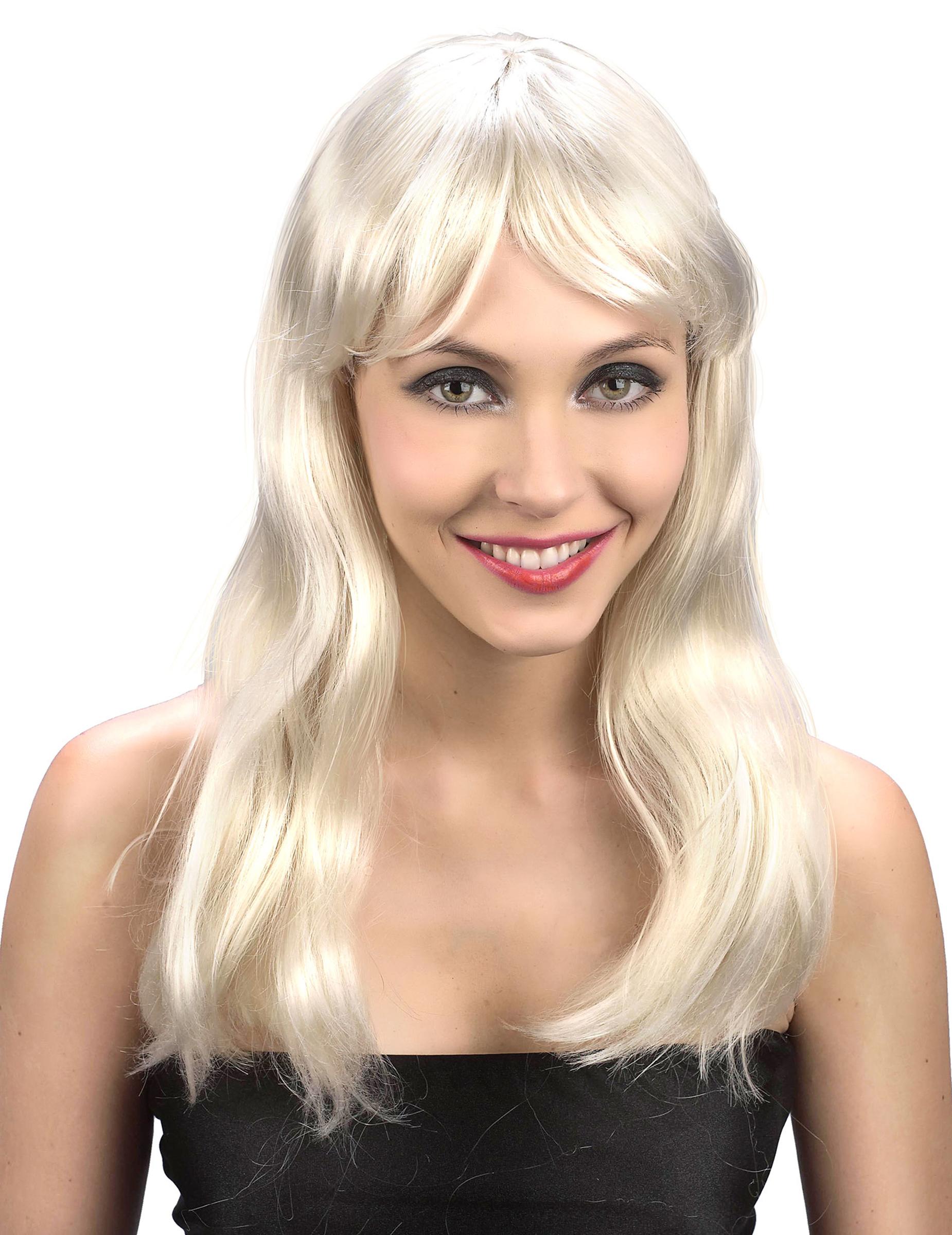 Parrucca bionda con capelli lunghi da donna su VegaooParty ...