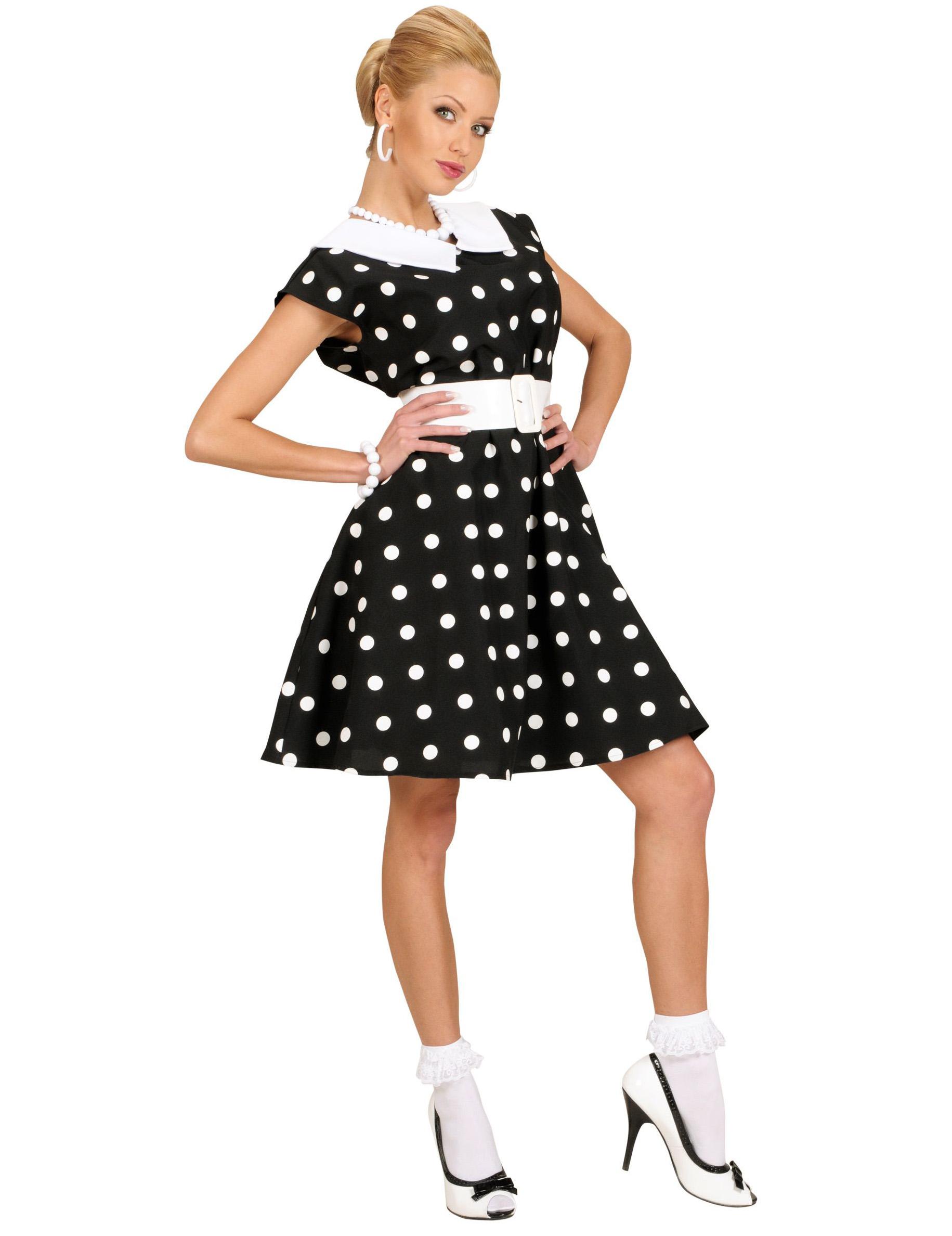 Costume anni  60 nero a pois per donna su VegaooParty 4344f82a50b
