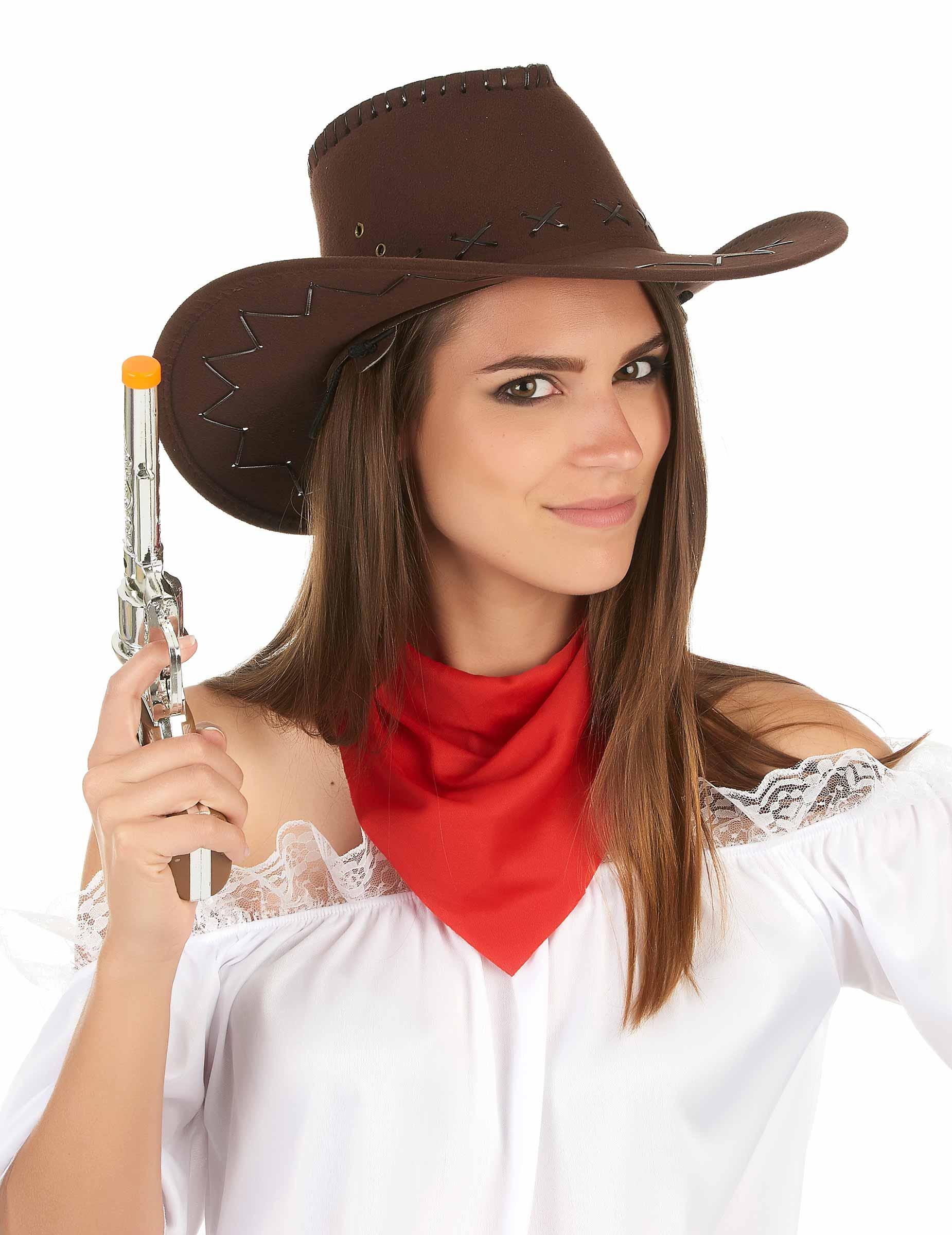 Cappello marrone da cowboy per adulto su VegaooParty fafe57caaf74