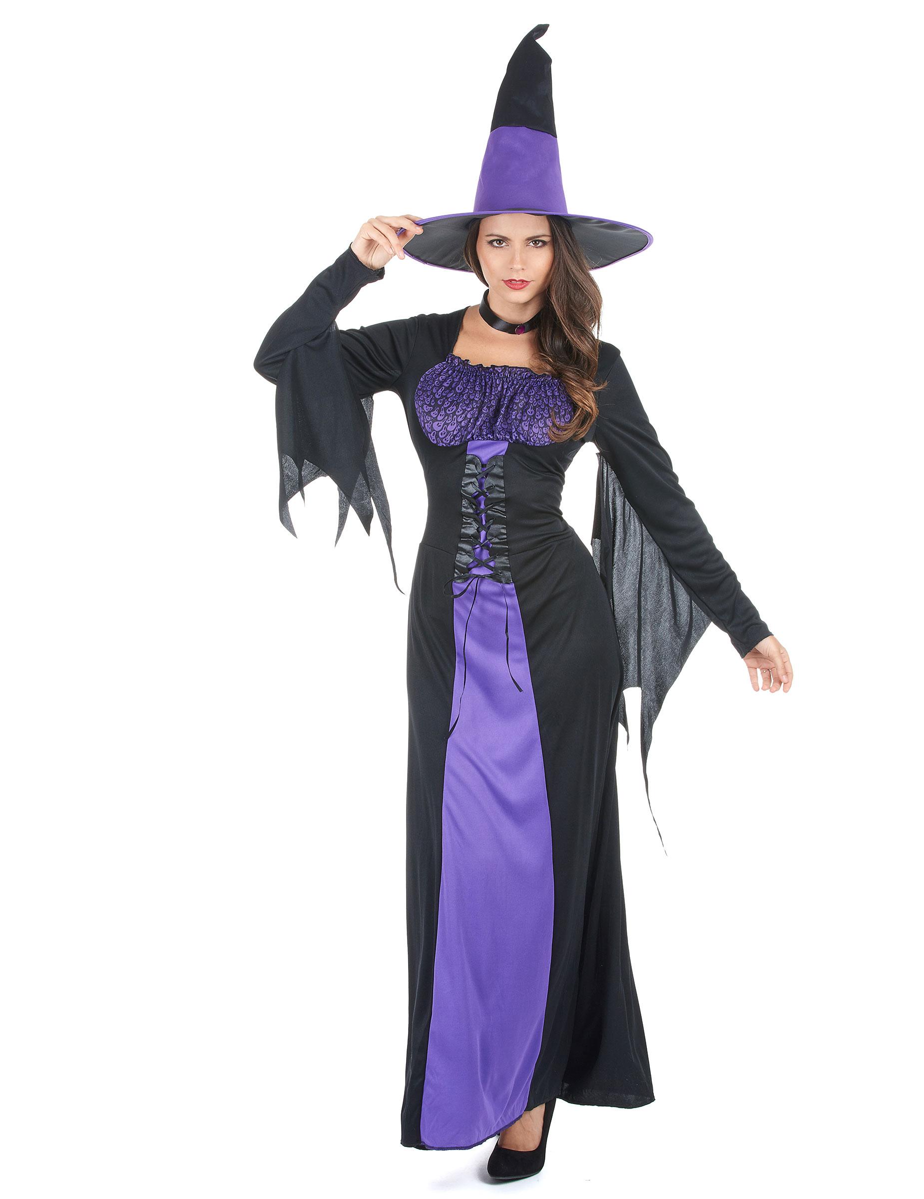 Costume da strega nero e viola Halloween donna su VegaooParty ... b80870ae0875