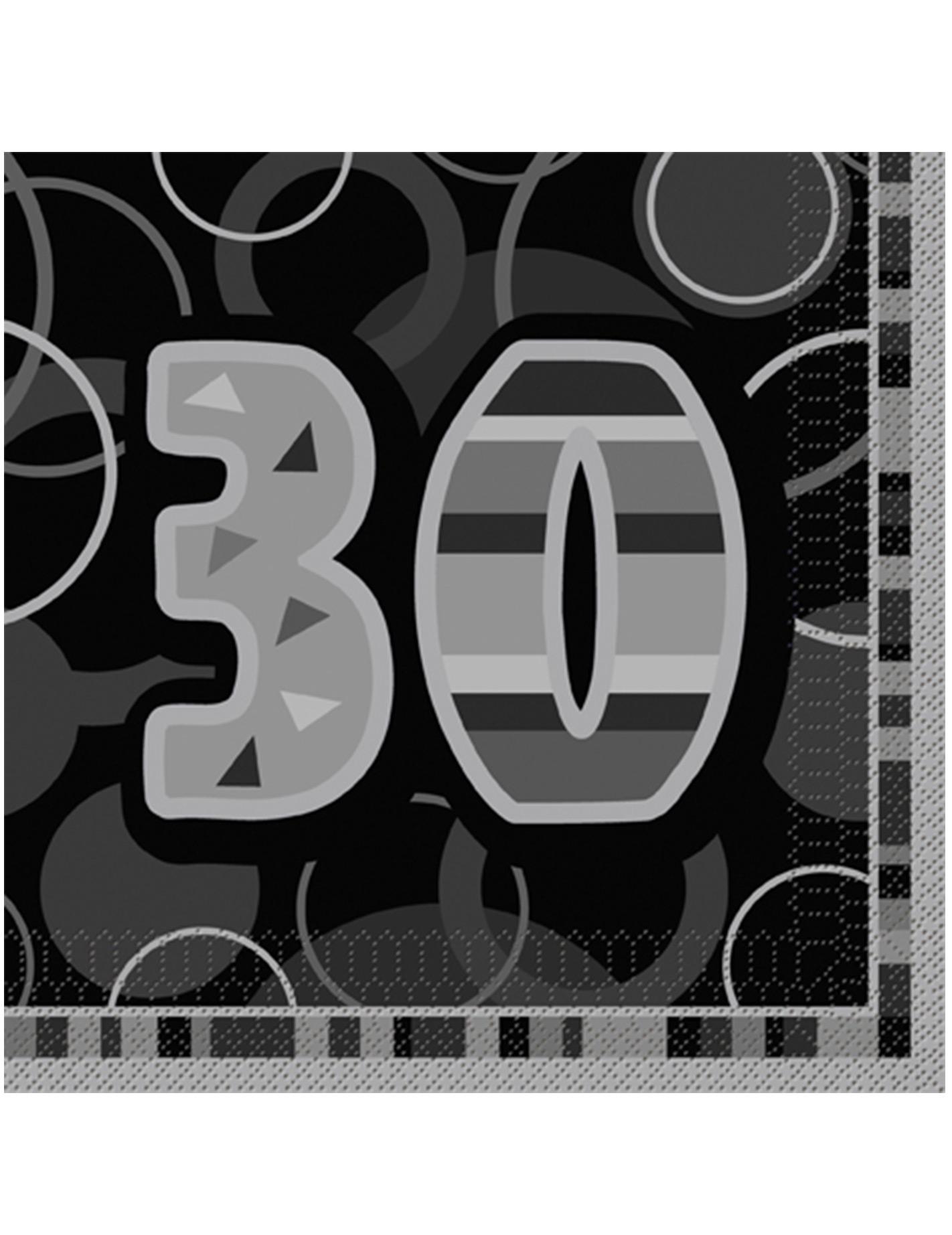 16 Tovaglioli Colori Grigio E Nero Per 30 Compleanno Su Vegaooparty