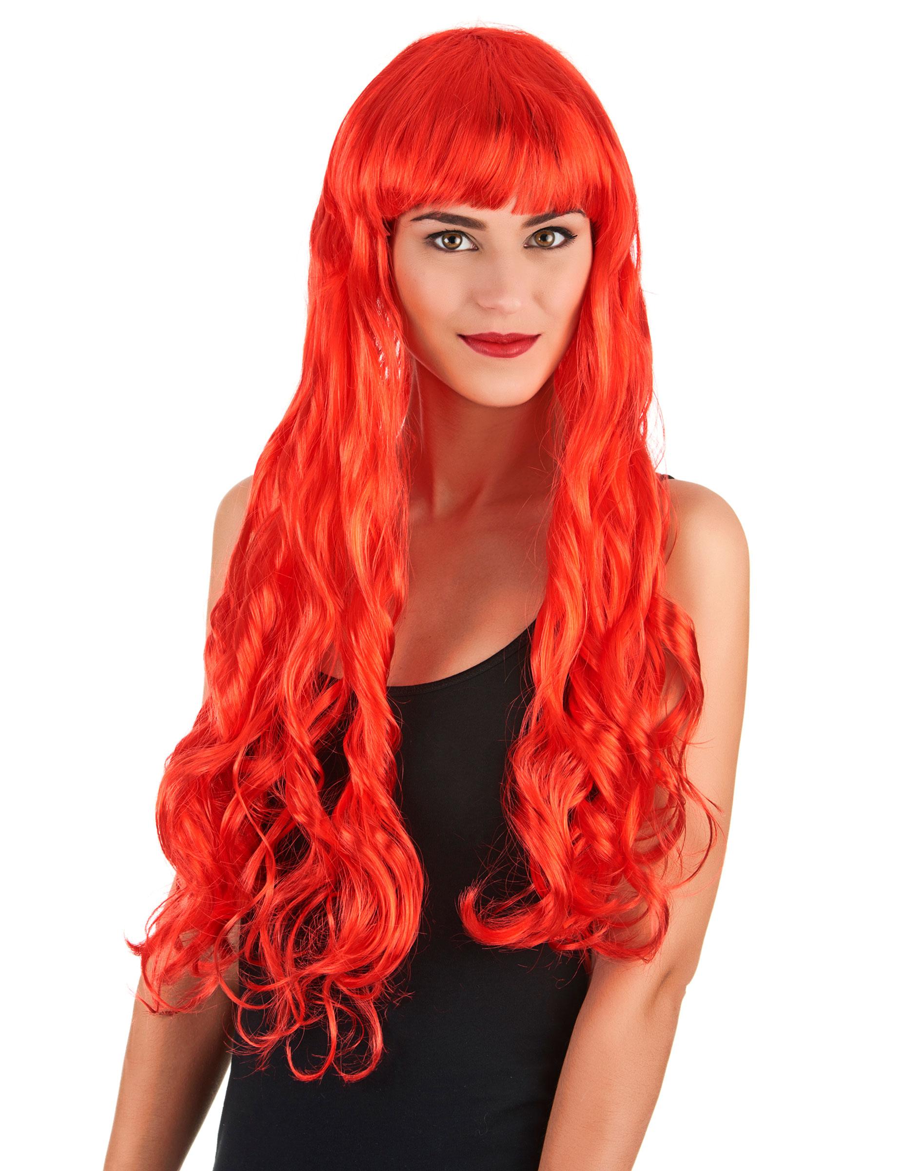 Parrucca da donna capelli ondulati lunghi rossi su ...