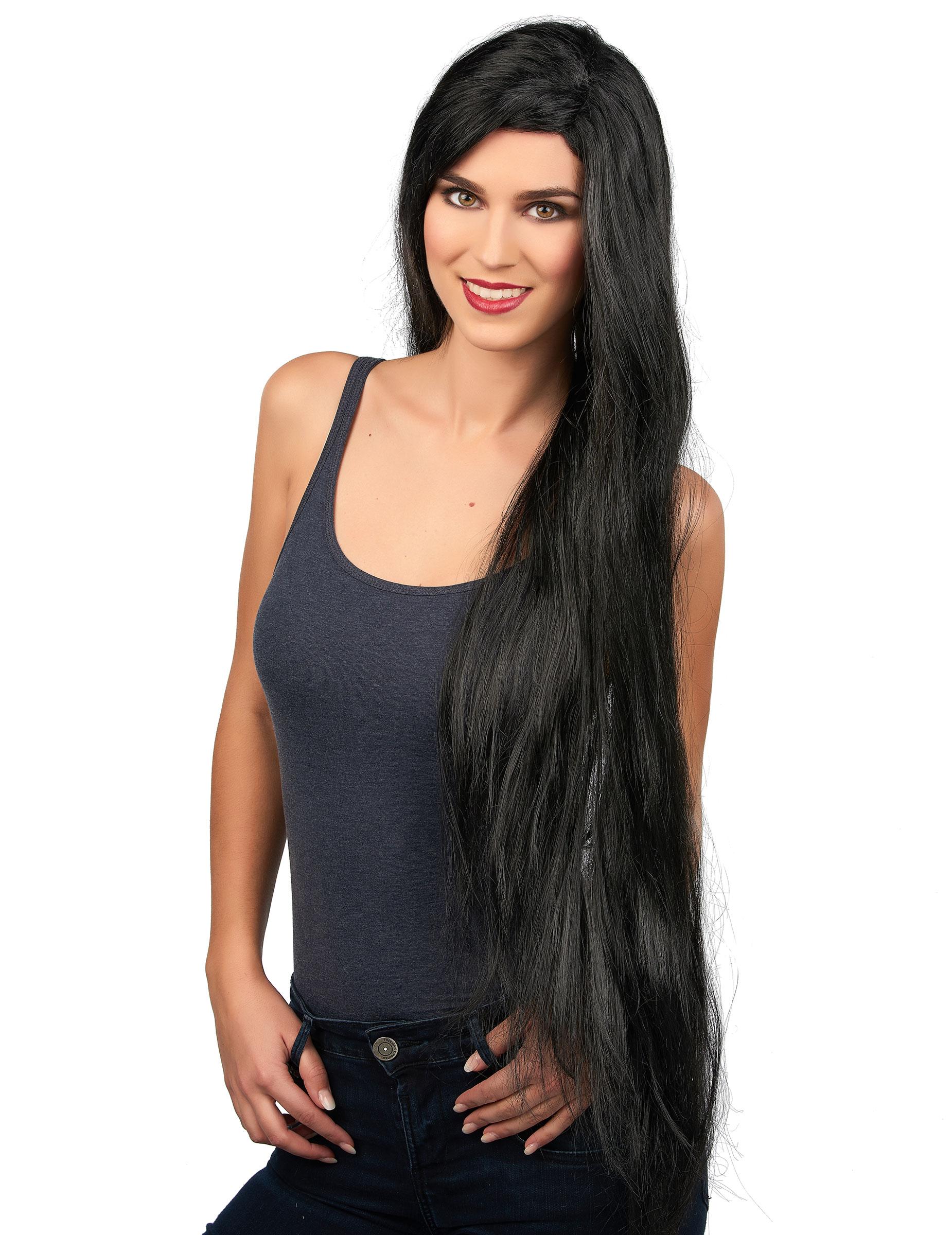 Parrucca da donna con capelli neri lunghi su VegaooParty ...