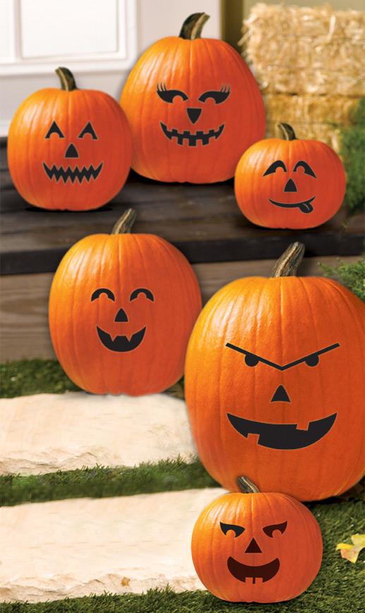 Facce Zucche Di Halloween.6 Decorazioni Di Facce Per Le Zucche Su Vegaooparty Negozio Di Articoli Per Feste